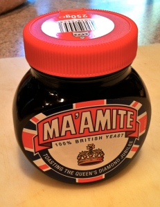 Marmite's special edition, created for the Queen's Diamond Jubilee in 1912.  This jar of it was given to us by the landlady of the London B&B where we stayed during the celebration.  (Yes, if you're wondering, she liked us.)